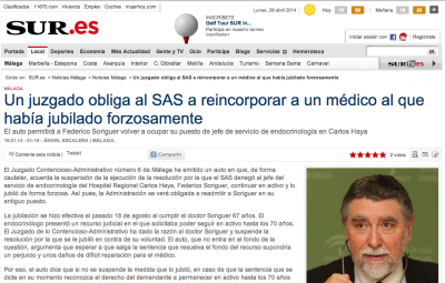 Un juzgado obliga al SAS a reincorporar a un médico al que había jubilado forzosamente